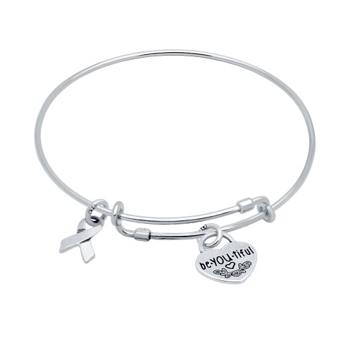 "STERLING SILVER EXPANDABLE BANGLE WITH AWARENESS RIBBON AND ""BE.YOU.TIFUL"" HEART CHARMS"