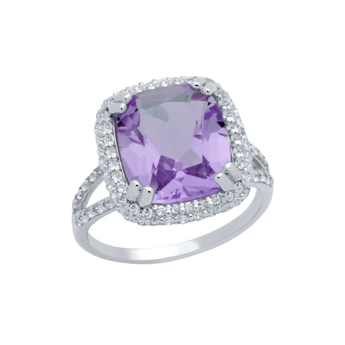 CHECKERBOARD-CUT GENUINE AMETHYST SPLIT-SHANK RING WITH WHITE TOPAZ DOUBLE-HALO