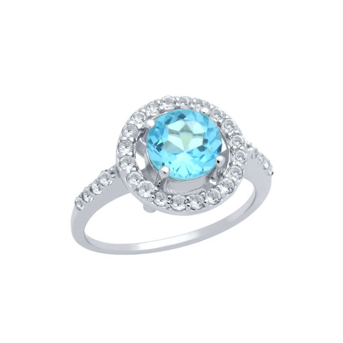 ROUND BRILLIANT-CUT GENUINE SWISS BLUE TOPAZ RING WITH WHITE TOPAZ HALO