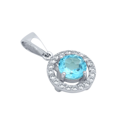 ROUND BRILLIANT-CUT GENUINE SWISS BLUE TOPAZ PENDANT WITH WHITE TOPAZ HALO