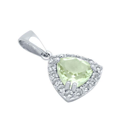 TRILLIANT-CUT GENUINE GREEN AMETHYST PENDANT WITH WHITE TOPAZ HALO