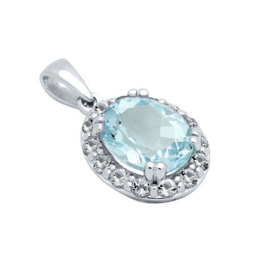 OVAL-CUT GENUINE SKY BLUE TOPAZ PENDANT WITH LARGE WHITE TOPAZ HALO