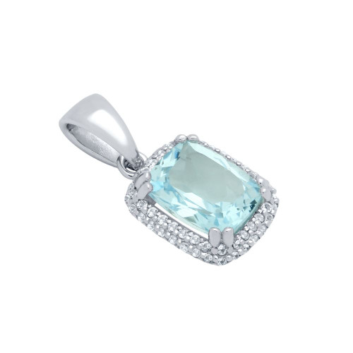 CUSHION-CUT GENUINE SKY BLUE TOPAZ PENDANT WITH WHITE TOPAZ DOUBLE-HALO