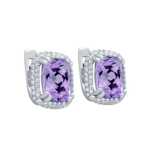 CHECKERBOARD-CUT GENUINE AMETHYST EARRINGS WITH WHITE TOPAZ DOUBLE-HALO