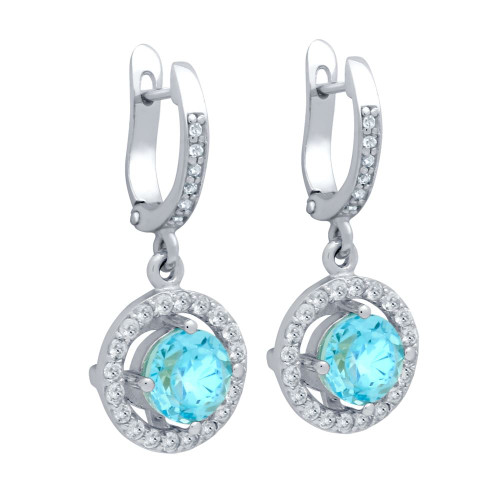 ROUND BRILLIANT-CUT GENUINE SWISS BLUE TOPAZ EARRINGS WITH WHITE TOPAZ HALO