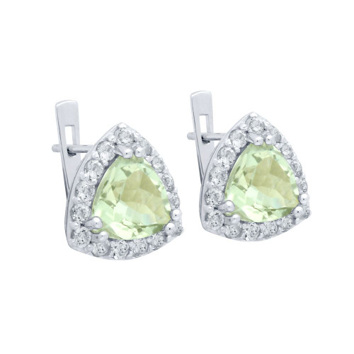 TRILLIANT-CUT GENUINE GREEN AMETHYST EARRINGS WITH WHITE TOPAZ HALO
