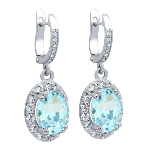OVAL-CUT GENUINE SKY BLUE TOPAZ EARRINGS WITH LARGE WHITE TOPAZ HALO