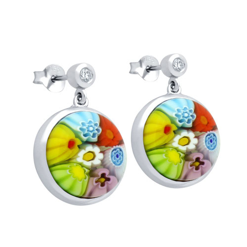 MULTICOLOR MURANO MILLEFIORI 12MM ROUND EARRINGS WITH CZ POST