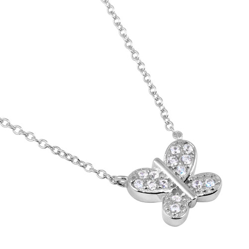 "RHODIUM PLATED CZ BUTTERFLY NECKLACE 16"" +2"