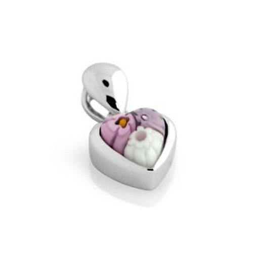 PINK MURANO MILLEFIORI SMALL HEART PENDANT
