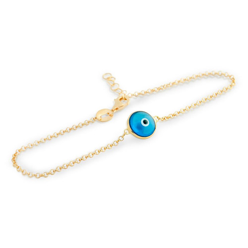 "GOLD PLATED SINGLE BLUE 10MM EYE ANKLET 9"" + 1"""
