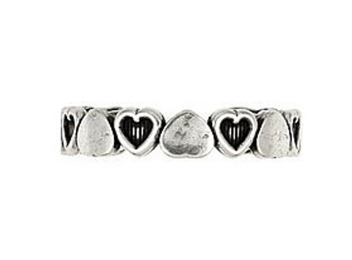 STERLING SILVER POLISHED AND CUT OUT HEART ADJUSTABLE TOE RING