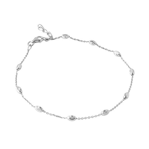 "RHODIUM PLATED STERLING SILVER MOON CUT ANKLET WITH OVAL BEADS 8.5"" + 1"""