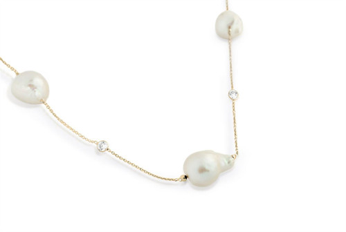 "FRESHWATER PEARLS AND CZ STONES ON GOLD PLATED STERLING SILVER LONG NECKLACE 42"" + 2"""