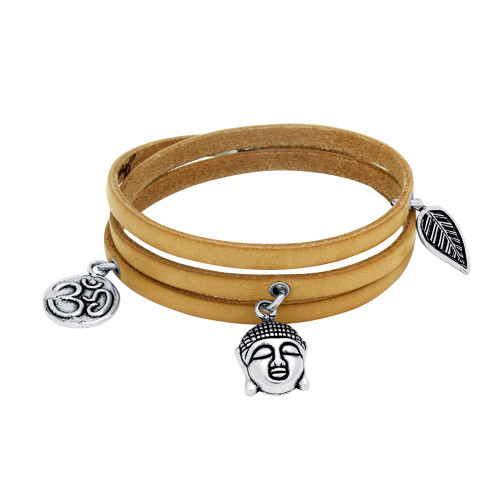 SPIRIT LEATHER WRAPPED CHARM BRACELET