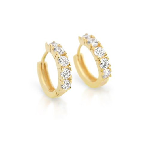 GOLD PLATED 15MM ROUND HUGGIE CZ EARRINGS
