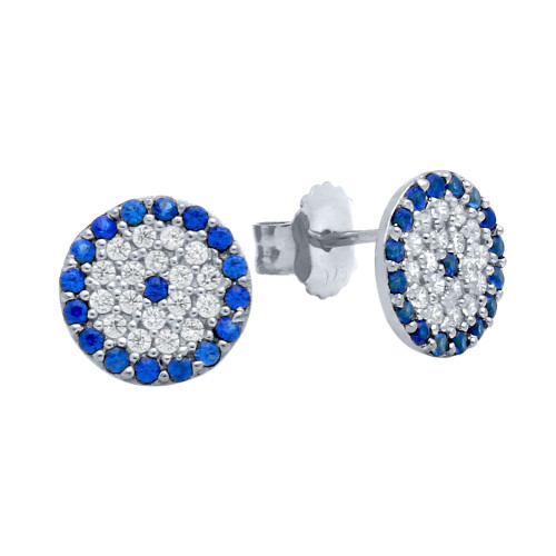 RHODIUM PLATED BLUE EYE CZ PAVE POST EARRINGS