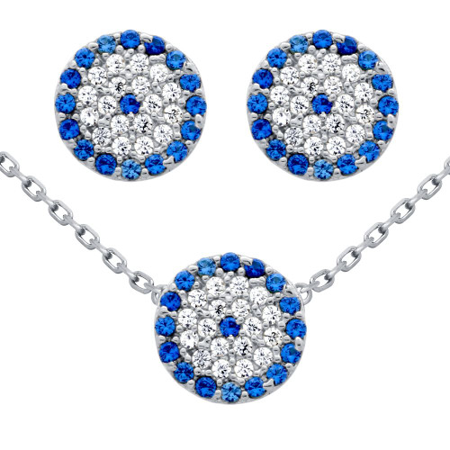 "RHODIUM PLATED SET: 9MM DISK BLUE EYE CZ PAVE EARRINGS AND 16+2"" NECKLACE"