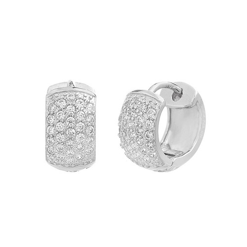 RHODIUM PLATED 17MM HUGGIE EARRINGS WITH 5-ROW CZ PAVE