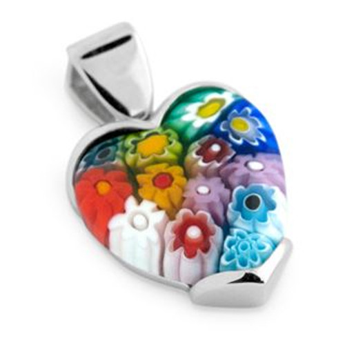 MULTICOLOR MURANO MILLEFIORI 22X18MM HEART PENDANT