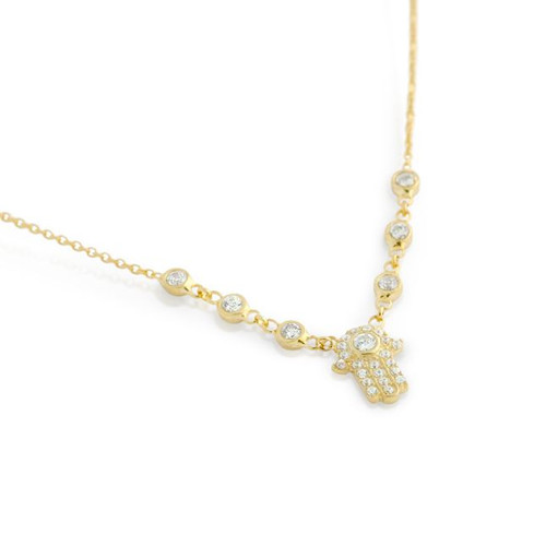 "GOLD PLATED CZ HAMSA NECKLACE IN 16"" + 2"""