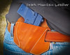 Custom stamp options for leather holster for Sig Sauer shown in saddle tan