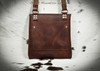 Bison Leather Crossbody Bag  (style 2) Has a pocket on the inside and outside.