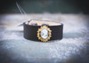 Vintage Rhinestone Leather Cuff in black with cameo
