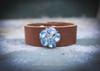 Vintage Blue rhinestones on brown leather cuff.