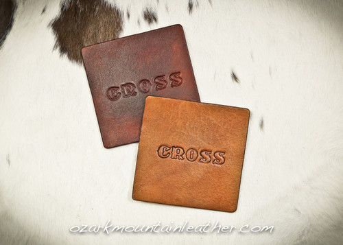 Leather coaster set of 4 can be customized with name or initials up to two lines 6 letters each.