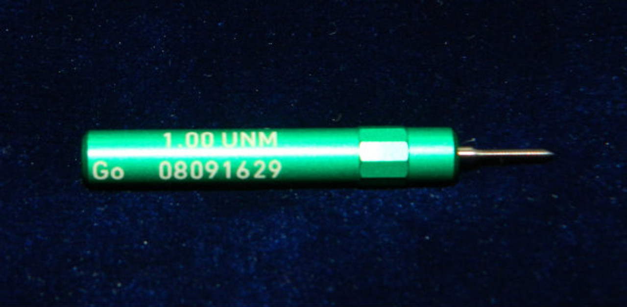 """1.00UNM Plug """"Go"""" Gage pitch .25mm; UNM stands for """"United National Miniature"""" the American Metric miniature Thread standard. This gage is one piece handle containing Go Precision Thread Gage made of High Speed Steel then hardened. Class of fit 1.00UNM is similar to metric 6H for M1.0 thread. Picture is representative of part,  Brand is;"""" MiniTaps"""" made specifically for us in Switzerland."""