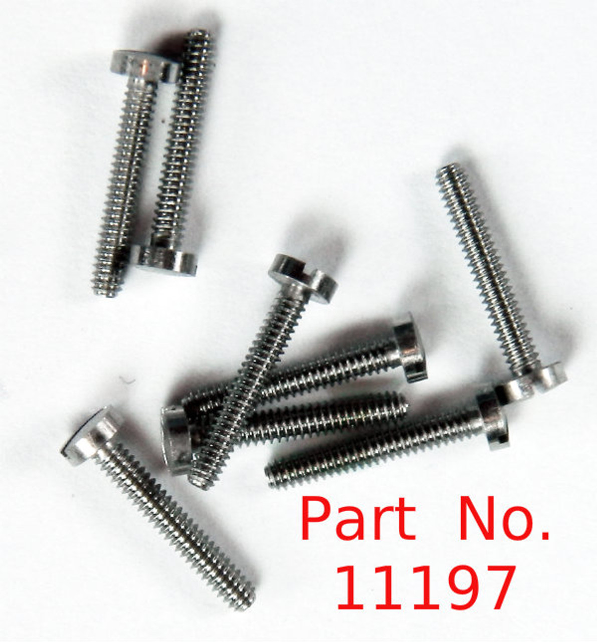 "Machine Screw thread 00-90 (0.052"") head diameter 2.5mm / 0.098"" Overall length is 8/8mm / 0.346"". Material: Stainless Steel part color is silver. Parts packaged per 100 pieces with bulk pricing available. Matting hex nut # 11120."