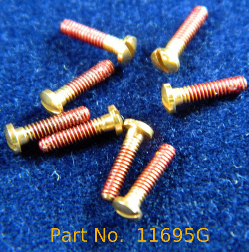 "Machine Screw Pan head, thread M1.4 pitch .30mm (thread also called 1.4 UNM) head diameter 2.5mm, Length shank 1/4"" or 6.2mm and overall length is 6.9mm material Stainless steel, price for 100 pieces, finish color Gold platted ""Flash not real gold"" and coated thread.  This part is a modified NAS-722-140-250  Part has the Thread coated to help prevent the screw from working loose and it can be removed with acetone."
