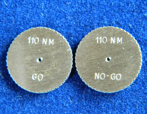 #02529  Metric Ring Gage M1.1 x.25  HSS  Set two pieces; Go & No-Go set Brand DC Swiss made in Switzerland