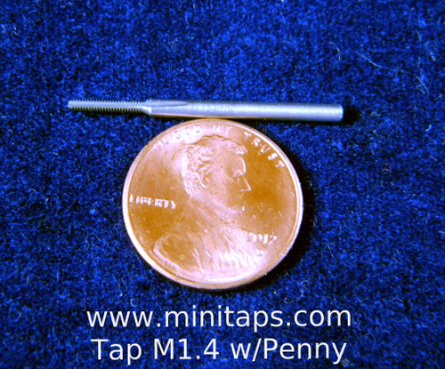 "M1.4 also called 1.40UNM or 140UNM, thread pitch 0.30mm Tap 3 flute Bottoming w/ TiN; to DIN standards Shank 2.0mm"" made from hardened high speed steel our taps are designed for production taping in blind holes.  TiN Coating on cutting surface increases tool life and performance.  Our taps are designed for production taping in Automatic screw machines, Tappers, CNC lathes and CNC mills. The coating used TiN (Titanium Nitride) very thin and smooth, increases tap performance and tool life.  In our shop TiN coated taps typically tapped three times the number of holes compared to uncoated Tool life.   Image is representative, picture with penny is a M1.4 bottoming tap the other picture is of a M1.4 with plug tap with TiN coating."