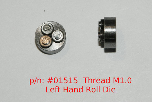 Metric Thread forming roll die M1.0 (Left Hand thread) Habegger brand style: Non-Adjustable body diameter 8mm, Total Height 4.5mm with  three Rollers made of High speed Steel then hardened. Image is representative of part in our stock.