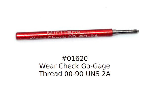 Wear Check Plug Go-Gage to calibrate a Thread Ring Go Gage 00-90 Class NS 2A; Precision Thread Gage made of High Speed Steel then hardened. The picture is of the gage in our stock.      Brand is; MiniTaps made to our specification in Switzerland. A long form gage certification is included in the price of this gage.