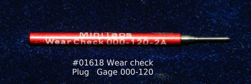 Wear Check Plug Go-Gage to calibrate a Thread Ring Go Gage 000-120 Class NS 2A; Precision Thread Gage made of High Speed Steel then hardened. The picture is of the gage in our stock.      Brand is; MiniTaps made to our specification in Switzerland. A long form gage certification is included in the price of this gage.