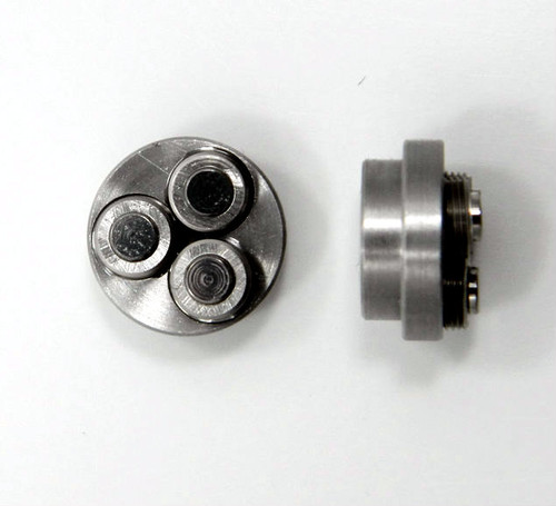 00-90 Class 2 Thread forming roll die Habegger brand style: Non-Adjustable body diameter 8mm  / 10mm, Total Height 5.90mm with  three Rollers made of High speed Steel then hardened. Image is representative of part in our stock.  Holder is item # 1509