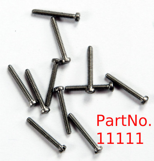 "Machine Screw thread 00-90 (0.046"") head diameter 1.8mm OAL 9.4mm body length 5/16"" Material: Nickel silver a premium copper alloy resistant to tarnish often used in Jewelry and eye-wear part color is silver also available in Gold color finish. Parts packaged per 100 pieces with bulk pricing available. Matting hex nut # 11101  or 11101G in Gold"