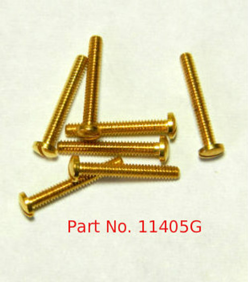 """Machine Screw special, thread M1.4 pitch .30mm (thread also called 1.40 UNM) head diameter 2.5mm, threaded length 9.7mm / 3/8"""" overall length 10.5mm material nickel silver copper alloy superior to brass, price for 100 pieces, finish color 24K Gold"""