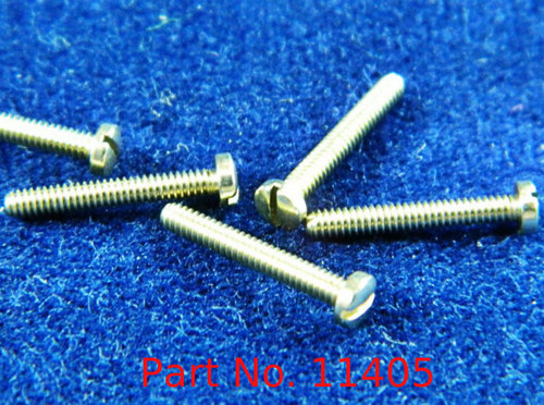 """#11405  Machine Pan Head Screw special, thread M1.4 pitch .30mm (also called 1.40 UNM thread) Head diameter 2.5mm, threaded length 9.7mm or 3/8"""" overall length 10.5mm material nickel silver copper alloy superior to brass, price for 100 pieces, finish color silver"""