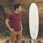 Indigo & Red Sequoia Stripe Camp Henley