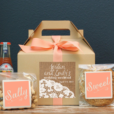Wedding Welcome Box - Burlap and Lace Label