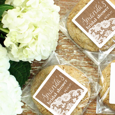 Cellophane Favor Bags - Burlap and Lace Label Design