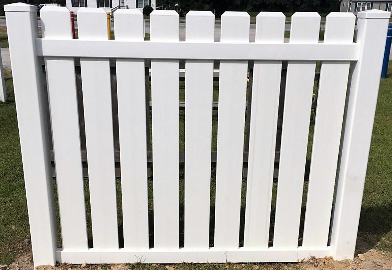 PVC (Vinyl) Fence Panel - Dog Ear Pickets - 5\' High x 6\' Wide ...