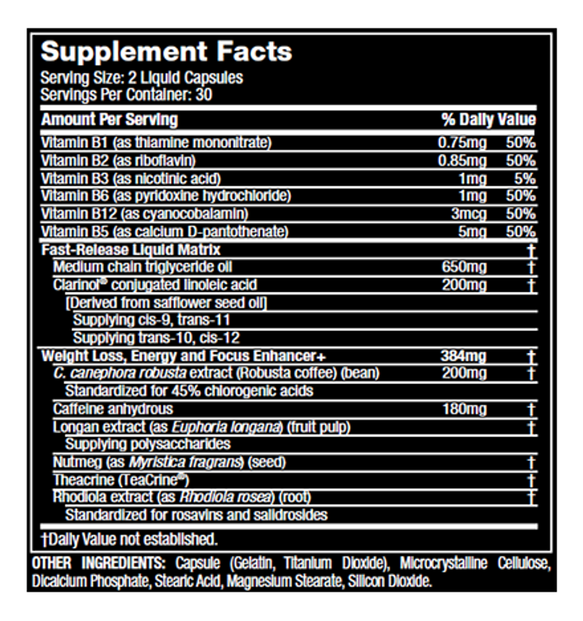 Xenadrine NextGen Supplement Facts