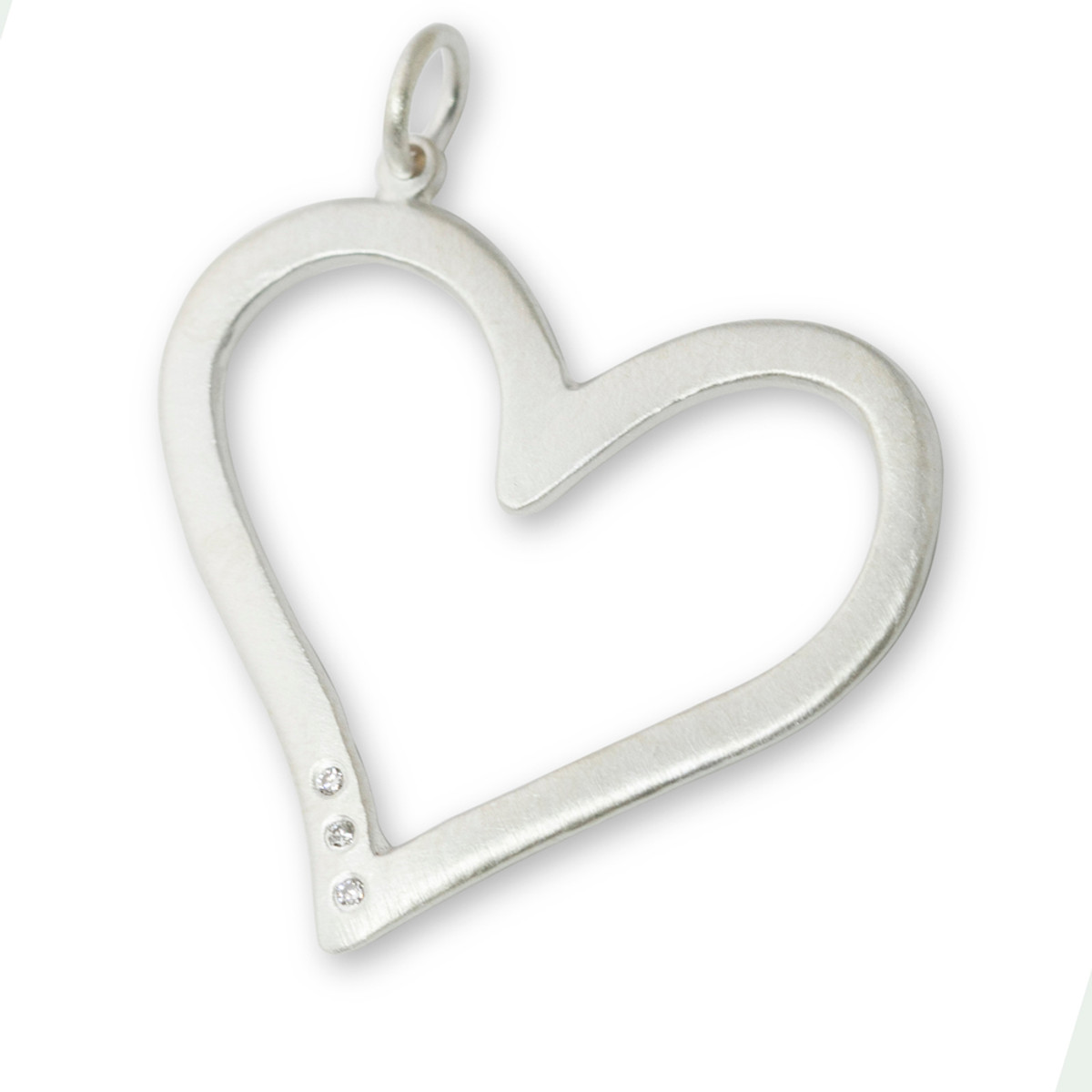 Large open heart pendant silver or gold with optional diamonds aloadofball Gallery