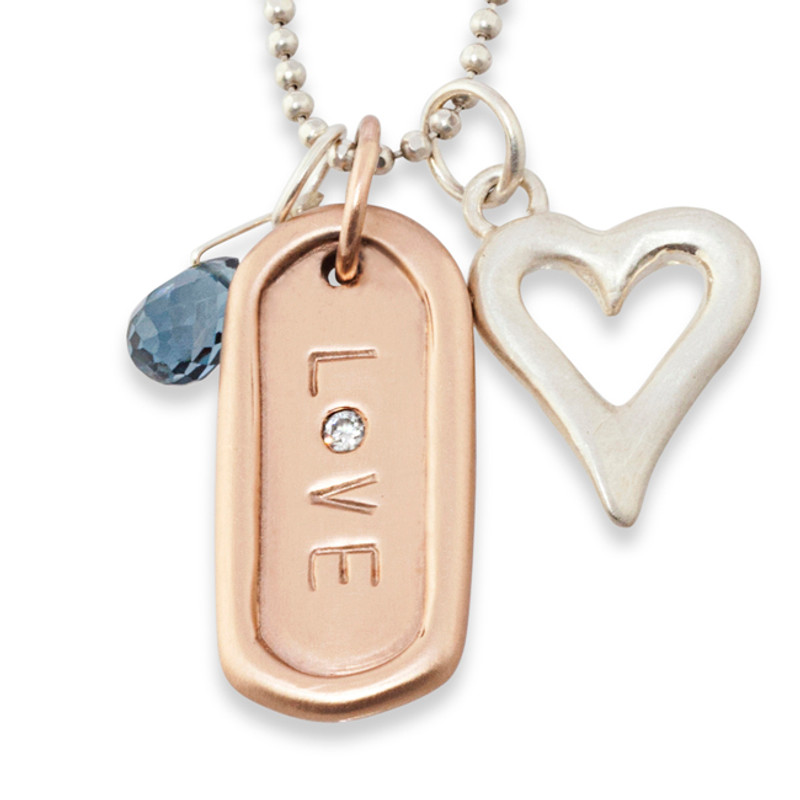 Open Heart with a Medium Dog Tag and Briolette Gem