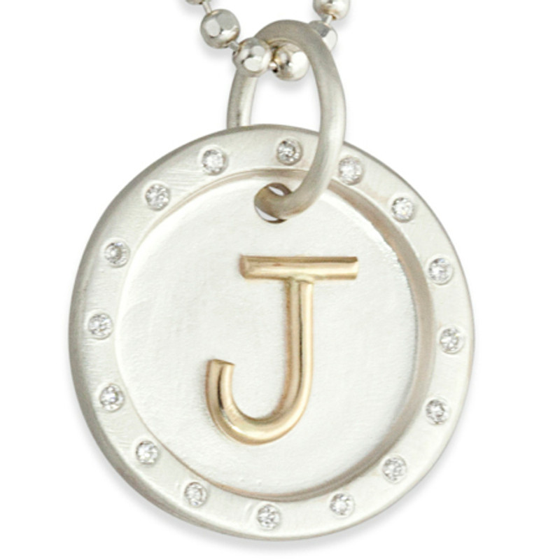 Raised 14KT Gold Letter Large Chunky Disc with and 16 Diamonds Personalized
